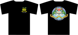 graphic of t-shirt front and back with logo designs